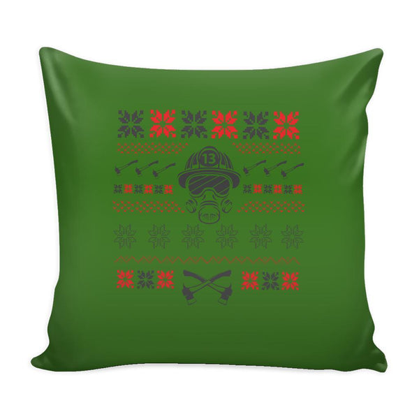 Firefighter Thin Red Line Funny Festive Ugly Christmas Holiday Sweater Decorative Throw Pillow Cases Cover(4 Colors)-Pillows-Green-JoyHip.Com