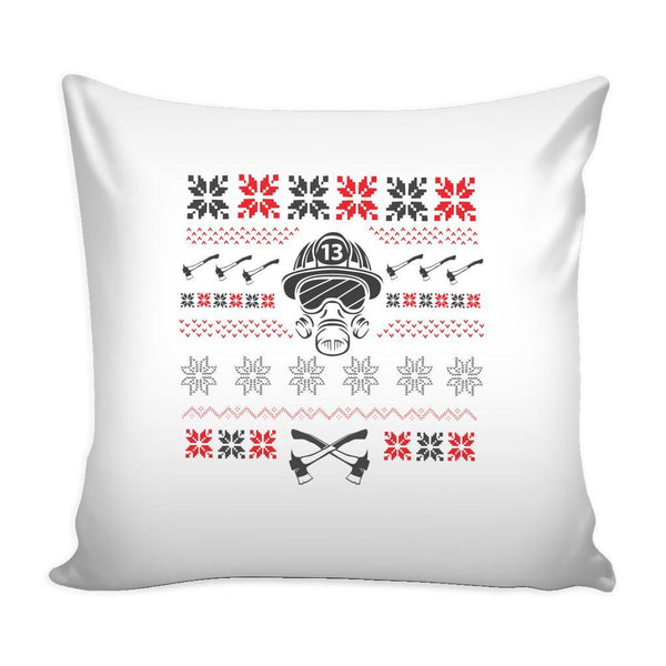 Firefighter Thin Red Line Funny Festive Ugly Christmas Holiday Sweater Decorative Throw Pillow Cases Cover(4 Colors)-Pillows-White-JoyHip.Com