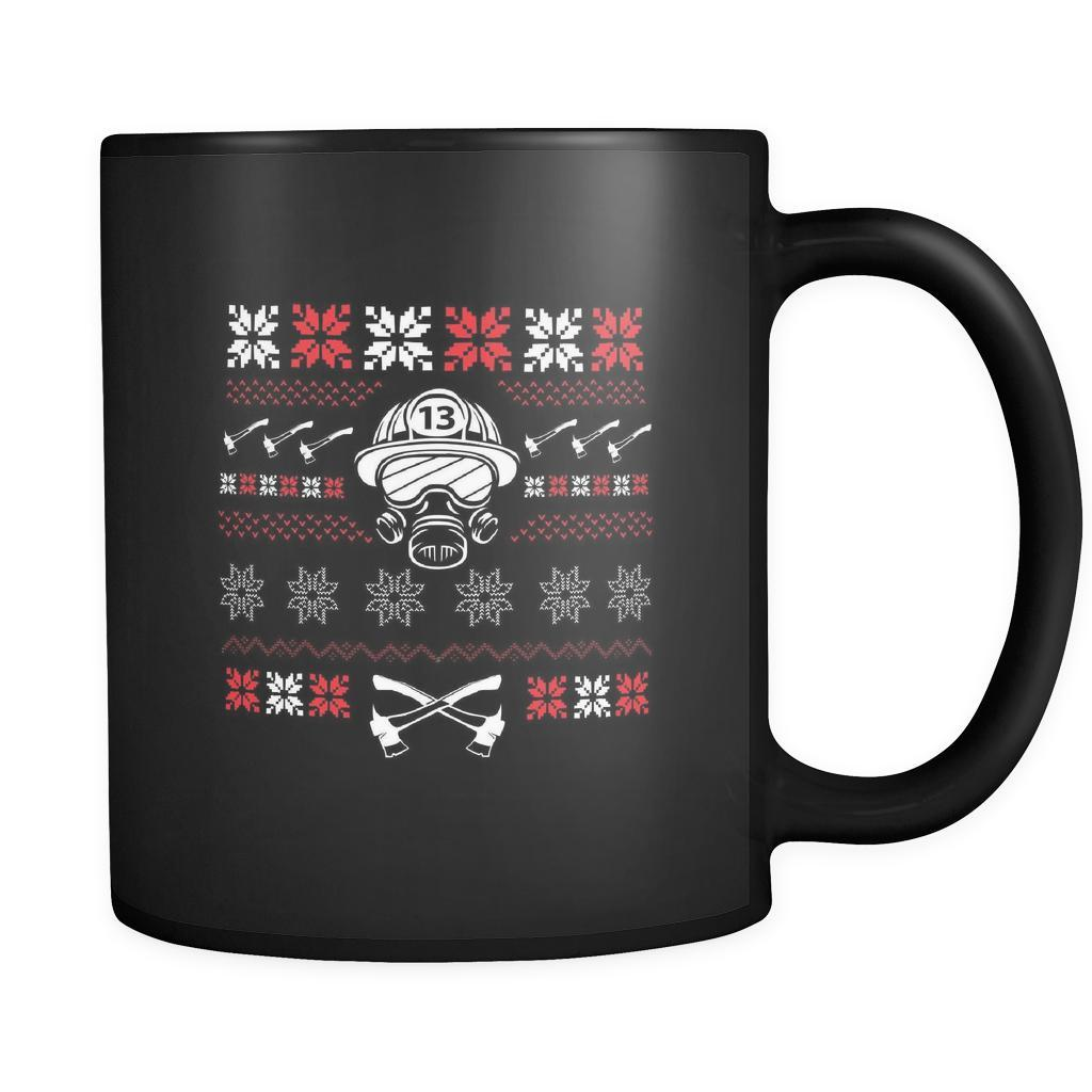 Firefighter Thin Red Line Funny Ugly Christmas Holiday Sweater Black 11oz Coffee Mug-Drinkware-Ugly Christmas Sweater Black 11oz Coffee Mug-JoyHip.Com