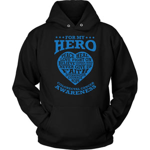 For My Hero Peace Heal Love Fight Believe Colon Colorectal Cancer Awareness Blue Ribbon Unisex Hoodie-T-shirt-Unisex Hoodie-Black-JoyHip.Com