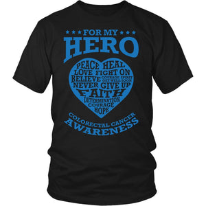 For My Hero Peace Heal Love Fight Believe Colon Colorectal Cancer Awareness Blue Ribbon Unisex T-Shirt-T-shirt-District Unisex Shirt-Black-JoyHip.Com