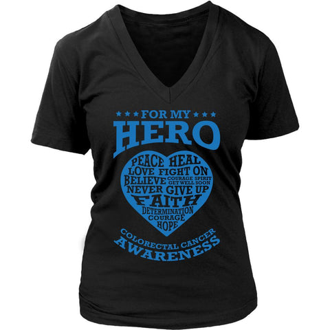For My Hero Peace Heal Love Fight Believe Colon Colorectal Cancer Awareness Blue Ribbon Women V-Neck T-Shirt-T-shirt-District Womens V-Neck-Black-JoyHip.Com