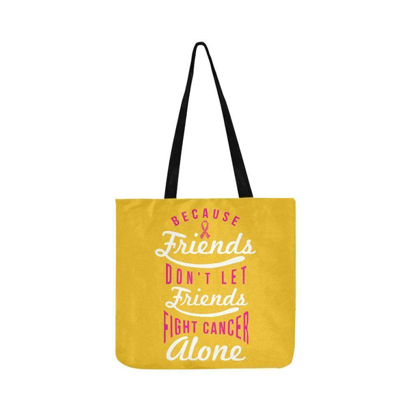 Friends Dont Let Friends Fight Breast Cancer Alone Reusable Shopping Produce Bag-One Size-Yellow-JoyHip.Com