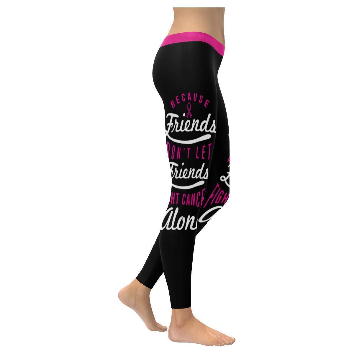 Friends Dont Let Friends Fight Cancer Alone Breast Cancer Pink Ribbon Leggings-XXS-Black-JoyHip.Com