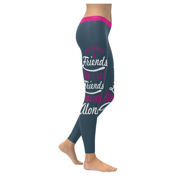 Friends Dont Let Friends Fight Cancer Alone Breast Cancer Pink Ribbon Leggings-XXS-Grey-JoyHip.Com