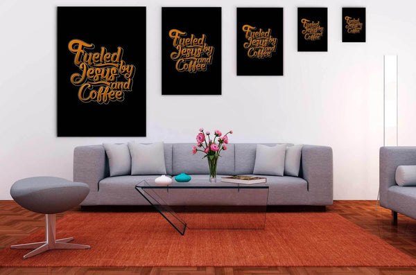 Fueled By Jesus & Coffee Christian Canvas Wall Art Room Decor Gift Religious-Canvas Wall Art 2-JoyHip.Com