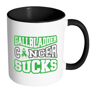 Gallbladder Cancer Sucks Gallbladder & Bile Duct Cancer Awareness Kelly Green Ribbon 11oz Accent Coffee Mug(7 Colors)-Drinkware-Accent Mug - Black-JoyHip.Com