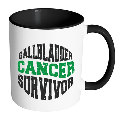 Gallbladder Cancer Survivor Bile Duct Cancer Awareness Kelly Green Ribbon 11oz Accent Coffee Mug(7 Colors)-Drinkware-Accent Mug - Black-JoyHip.Com