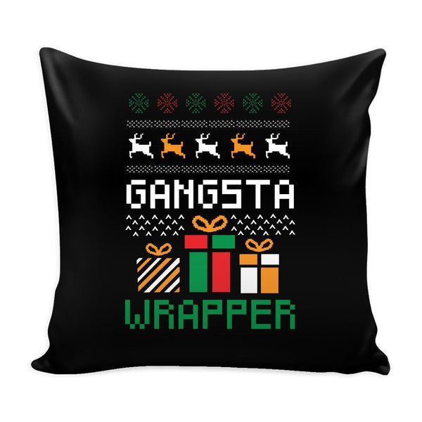 Gangsta Wrapper Funny Festive Ugly Christmas Holiday Sweater Decorative Throw Pillow Cases Cover(4 Colors)-Pillows-Black-JoyHip.Com