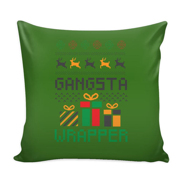 Gangsta Wrapper Funny Festive Ugly Christmas Holiday Sweater Decorative Throw Pillow Cases Cover(4 Colors)-Pillows-Green-JoyHip.Com