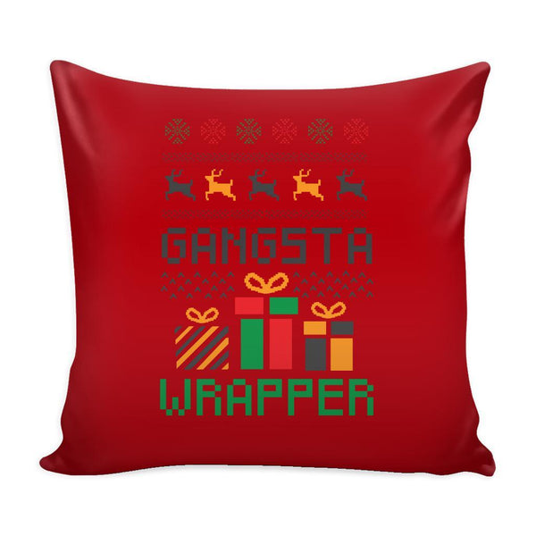 Gangsta Wrapper Funny Festive Ugly Christmas Holiday Sweater Decorative Throw Pillow Cases Cover(4 Colors)-Pillows-Red-JoyHip.Com