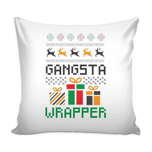 Gangsta Wrapper Funny Festive Ugly Christmas Holiday Sweater Decorative Throw Pillow Cases Cover(4 Colors)-Pillows-White-JoyHip.Com