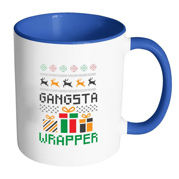 Gangsta Wrapper Funny Ugly Christmas Holiday Sweater 11oz Accent Coffee Mug (7 Colors)-Drinkware-Accent Mug - Blue-JoyHip.Com