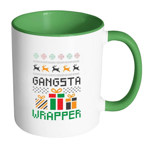 Gangsta Wrapper Funny Ugly Christmas Holiday Sweater 11oz Accent Coffee Mug (7 Colors)-Drinkware-Accent Mug - Green-JoyHip.Com
