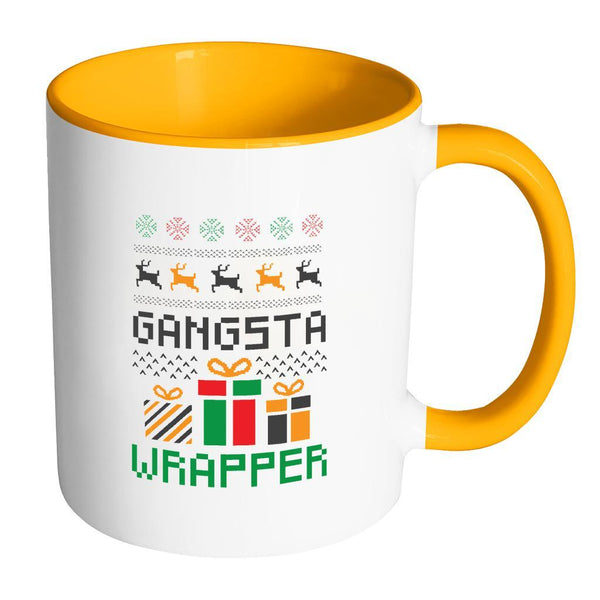 Gangsta Wrapper Funny Ugly Christmas Holiday Sweater 11oz Accent Coffee Mug (7 Colors)-Drinkware-Accent Mug - Orange-JoyHip.Com