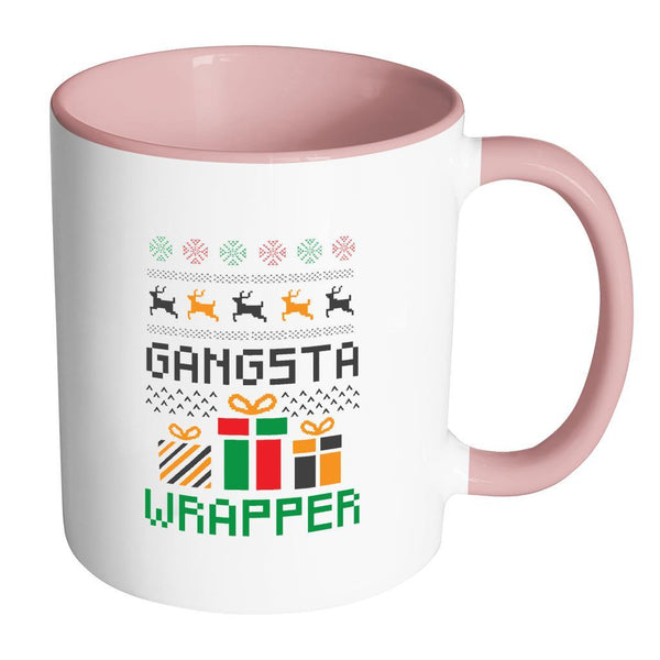 Gangsta Wrapper Funny Ugly Christmas Holiday Sweater 11oz Accent Coffee Mug (7 Colors)-Drinkware-Accent Mug - Pink-JoyHip.Com