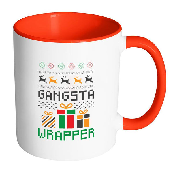 Gangsta Wrapper Funny Ugly Christmas Holiday Sweater 11oz Accent Coffee Mug (7 Colors)-Drinkware-Accent Mug - Red-JoyHip.Com