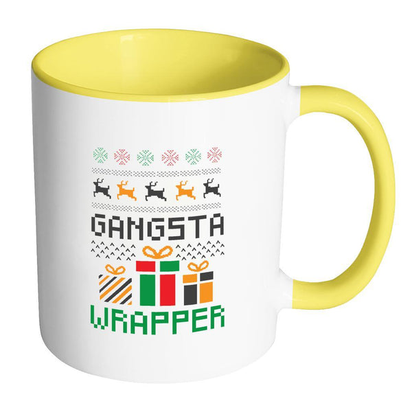 Gangsta Wrapper Funny Ugly Christmas Holiday Sweater 11oz Accent Coffee Mug (7 Colors)-Drinkware-Accent Mug - Yellow-JoyHip.Com