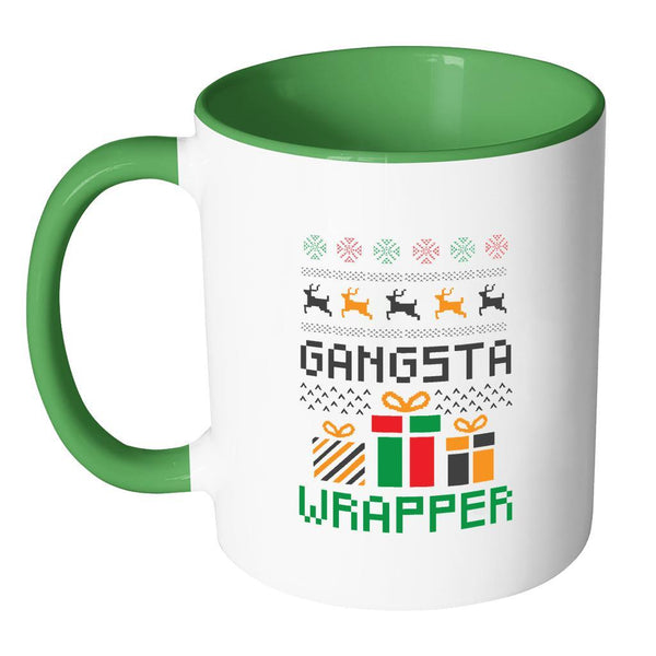 Gangsta Wrapper Funny Ugly Christmas Holiday Sweater 11oz Accent Coffee Mug (7 Colors)-Drinkware-JoyHip.Com
