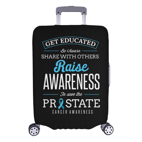 Get Educated Be Aware Raise Awareness Save Prostate Travel Luggage Cover-L-Black-JoyHip.Com