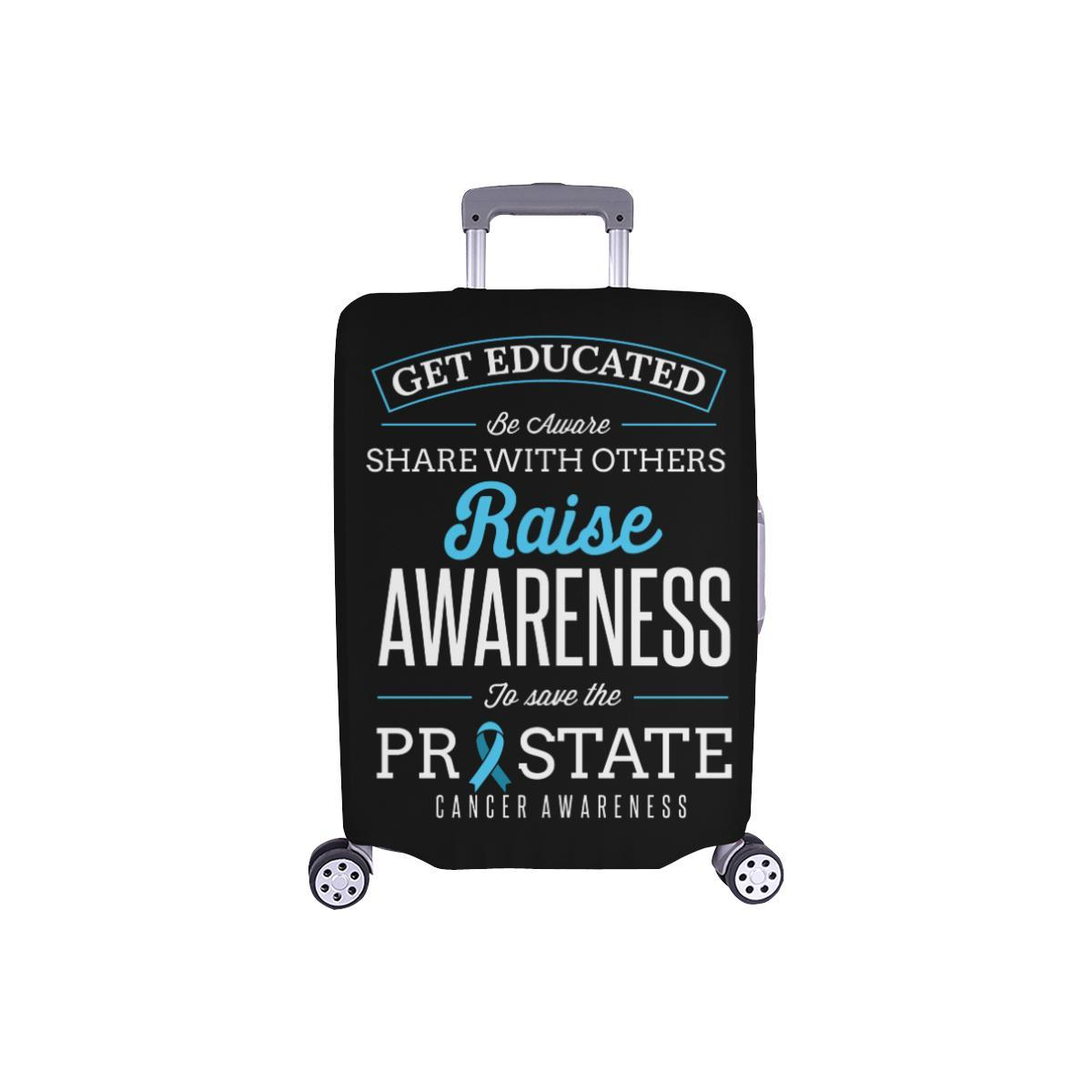Get Educated Be Aware Raise Awareness Save Prostate Travel Luggage Cover-S-Black-JoyHip.Com