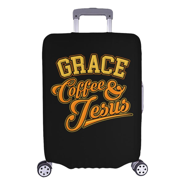 "Grace Coffee & Jesus Christian Travel Luggage Cover Suitcase Protector 18""-28""-L-Black-JoyHip.Com"