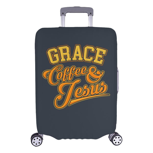 "Grace Coffee & Jesus Christian Travel Luggage Cover Suitcase Protector 18""-28""-L-Grey-JoyHip.Com"
