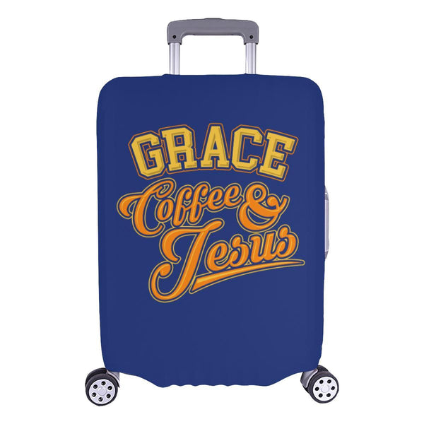 "Grace Coffee & Jesus Christian Travel Luggage Cover Suitcase Protector 18""-28""-L-Navy-JoyHip.Com"