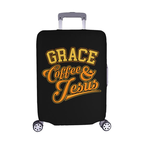 "Grace Coffee & Jesus Christian Travel Luggage Cover Suitcase Protector 18""-28""-M-Black-JoyHip.Com"