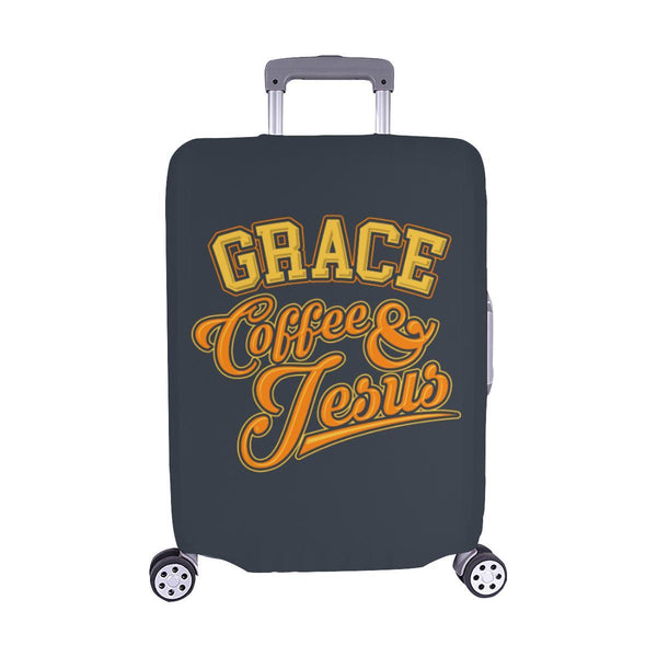 "Grace Coffee & Jesus Christian Travel Luggage Cover Suitcase Protector 18""-28""-M-Grey-JoyHip.Com"
