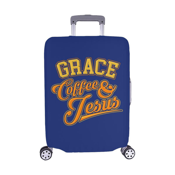 "Grace Coffee & Jesus Christian Travel Luggage Cover Suitcase Protector 18""-28""-M-Navy-JoyHip.Com"