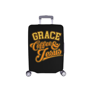"Grace Coffee & Jesus Christian Travel Luggage Cover Suitcase Protector 18""-28""-S-Black-JoyHip.Com"