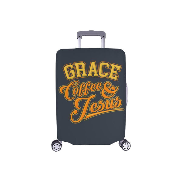 "Grace Coffee & Jesus Christian Travel Luggage Cover Suitcase Protector 18""-28""-S-Grey-JoyHip.Com"