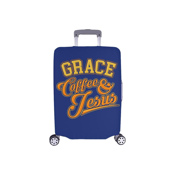 "Grace Coffee & Jesus Christian Travel Luggage Cover Suitcase Protector 18""-28""-S-Navy-JoyHip.Com"