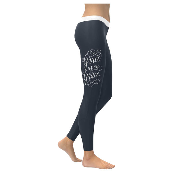 Grace Upon Grace Soft Legging For Women Cool Cute Funny Christian Gift Religious-XXS-Grey-JoyHip.Com