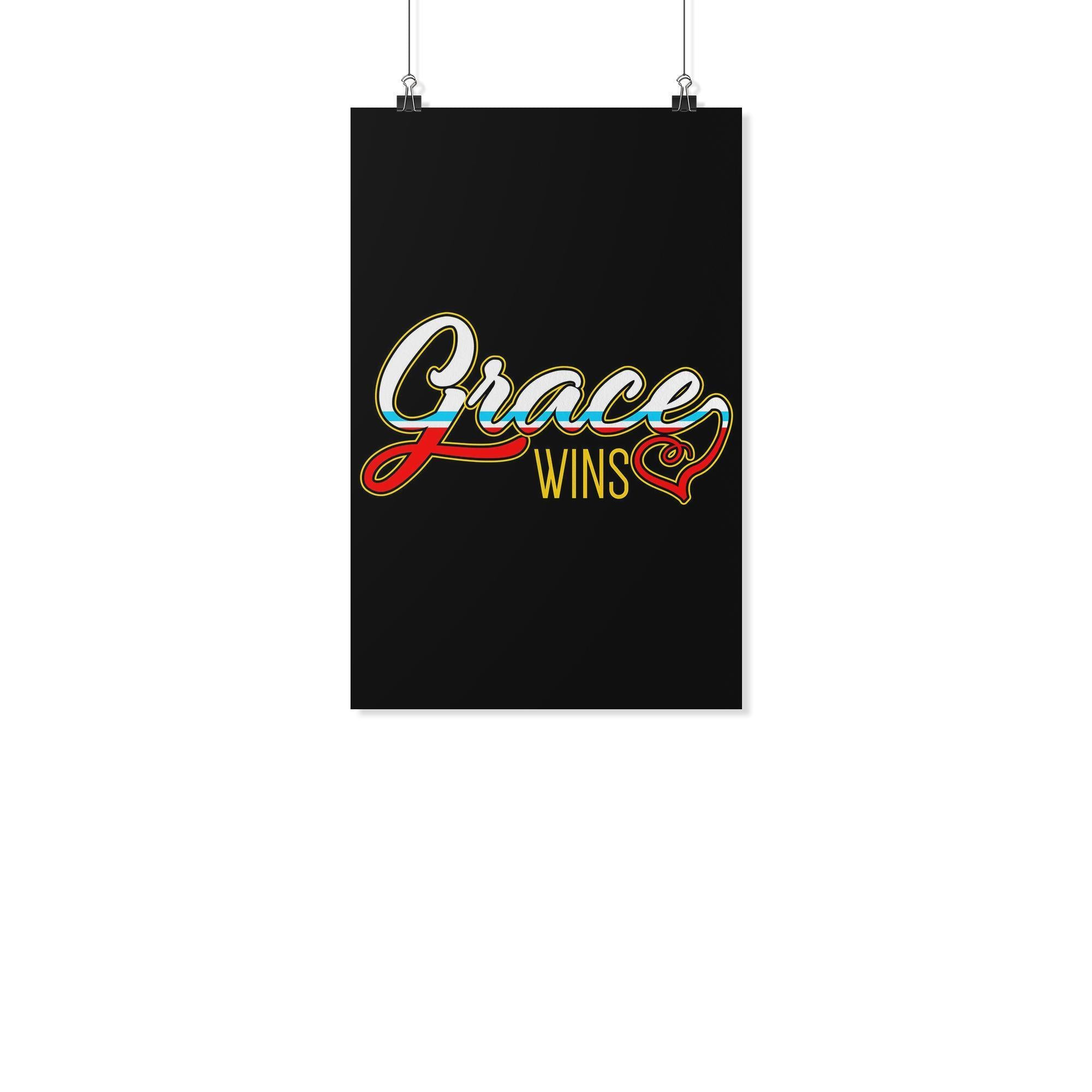 Grace Wins Christian Poster Wall Art Room Decor Gift Religious Spiritual Present-Posters 2-11x17-JoyHip.Com
