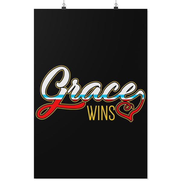Grace Wins Christian Poster Wall Art Room Decor Gift Religious Spiritual Present-Posters 2-24x36-JoyHip.Com