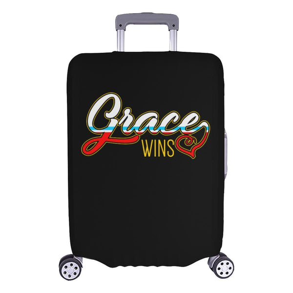 "Grace Wins Christian Travel Luggage Cover Suitcase Protector Fit 18""-28"" Baggage-L-Black-JoyHip.Com"