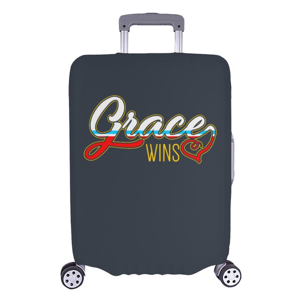"Grace Wins Christian Travel Luggage Cover Suitcase Protector Fit 18""-28"" Baggage-L-Grey-JoyHip.Com"