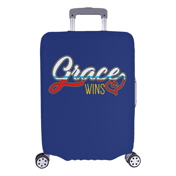 "Grace Wins Christian Travel Luggage Cover Suitcase Protector Fit 18""-28"" Baggage-L-Navy-JoyHip.Com"