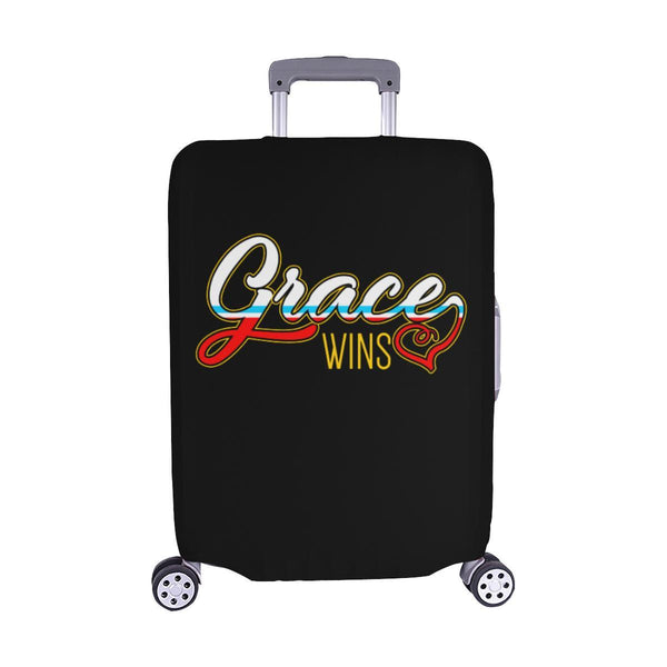 "Grace Wins Christian Travel Luggage Cover Suitcase Protector Fit 18""-28"" Baggage-M-Black-JoyHip.Com"