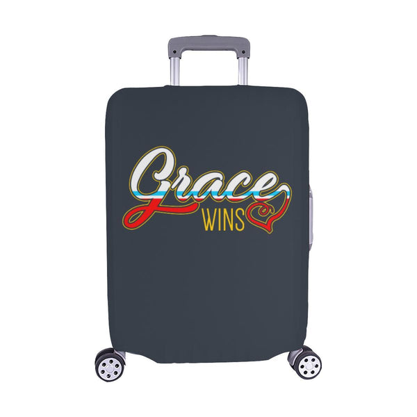 "Grace Wins Christian Travel Luggage Cover Suitcase Protector Fit 18""-28"" Baggage-M-Grey-JoyHip.Com"