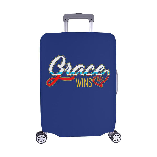 "Grace Wins Christian Travel Luggage Cover Suitcase Protector Fit 18""-28"" Baggage-M-Navy-JoyHip.Com"
