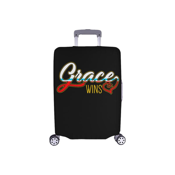 "Grace Wins Christian Travel Luggage Cover Suitcase Protector Fit 18""-28"" Baggage-S-Black-JoyHip.Com"