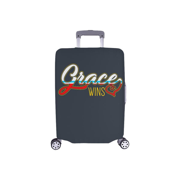 "Grace Wins Christian Travel Luggage Cover Suitcase Protector Fit 18""-28"" Baggage-S-Grey-JoyHip.Com"