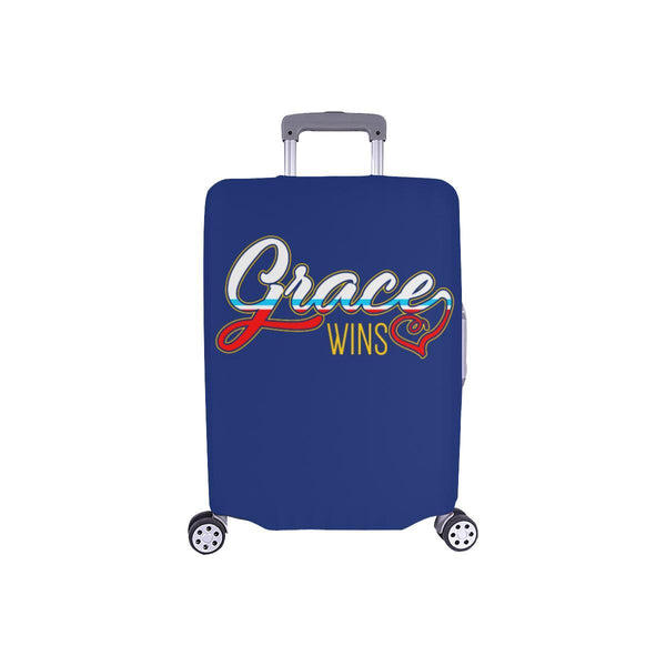 "Grace Wins Christian Travel Luggage Cover Suitcase Protector Fit 18""-28"" Baggage-S-Navy-JoyHip.Com"