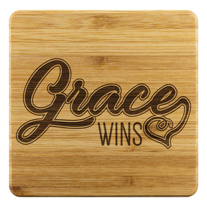 Grace Wins Funny Drink Coasters Set Christian Gifts Ideas Religious Spiritual-Coasters-Bamboo Coaster - 4pc-JoyHip.Com