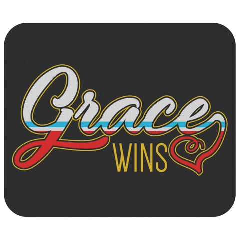 Grace Wins Mouse Pad Unique Christian Gifts Ideas Religious Spiritual Presents-Mousepads-Black-JoyHip.Com