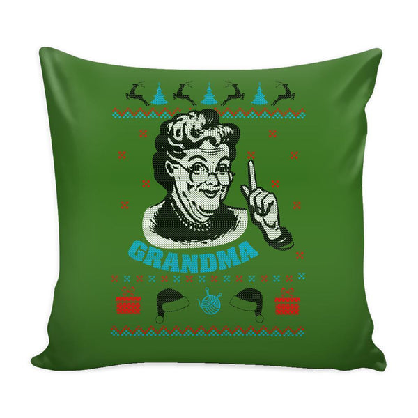 Grandma Festive Funny Ugly Christmas Holiday Sweater Decorative Throw Pillow Cases Cover(4 Colors)-Pillows-Green-JoyHip.Com