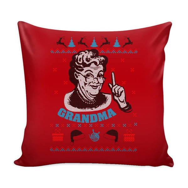 Grandma Festive Funny Ugly Christmas Holiday Sweater Decorative Throw Pillow Cases Cover(4 Colors)-Pillows-Red-JoyHip.Com
